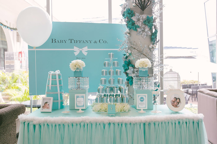 tiffany themed desserts table photo by awesome memories photography